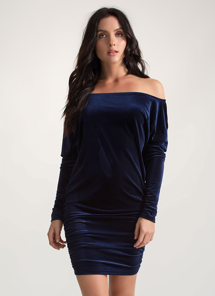 Festive Feels Ruched Velvet Dress NAVY