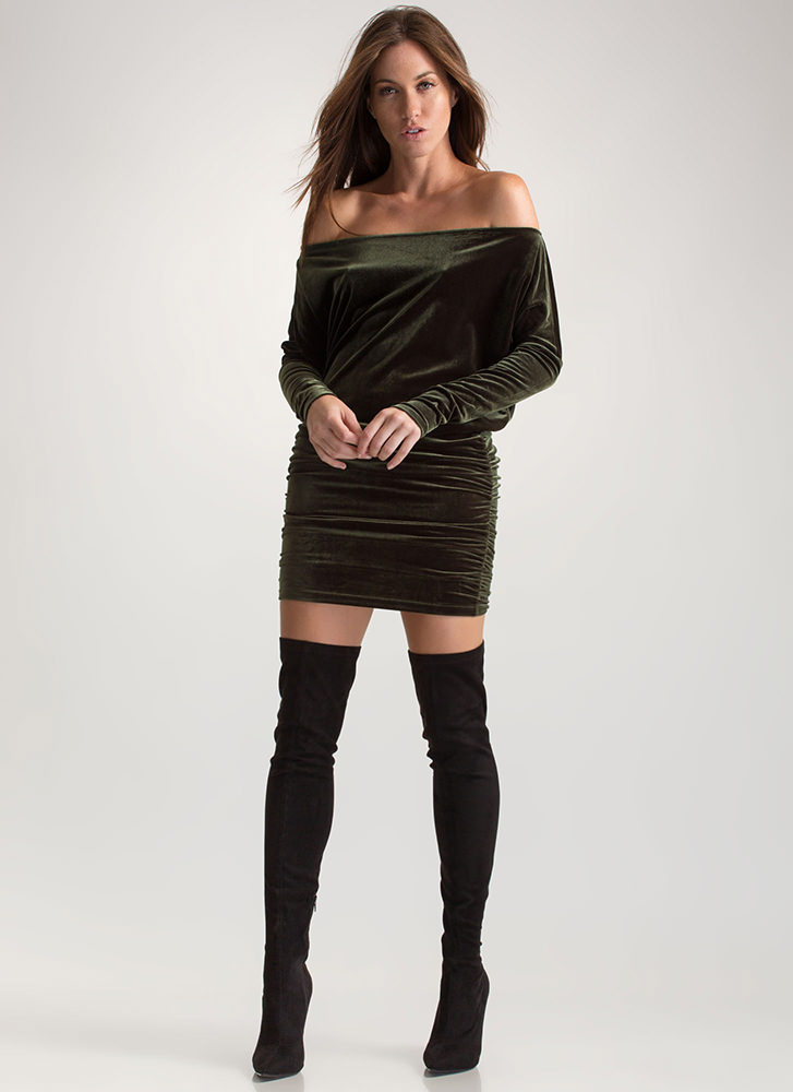 Festive Feels Ruched Velvet Dress OLIVE