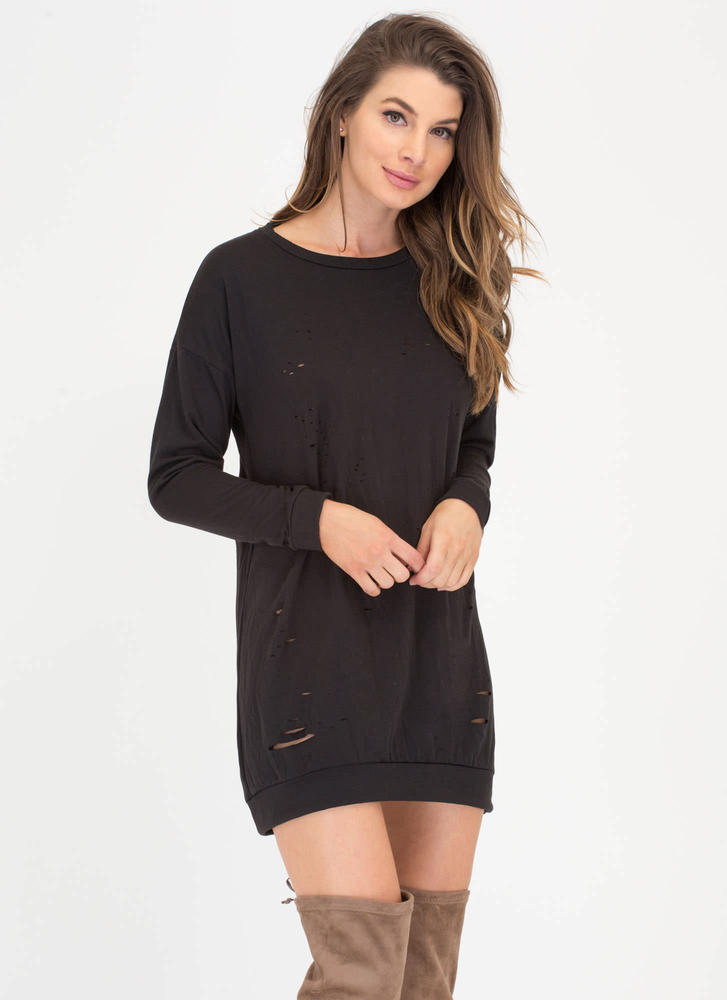 Slits Bound To Happen Sweatshirt Dress BLACK