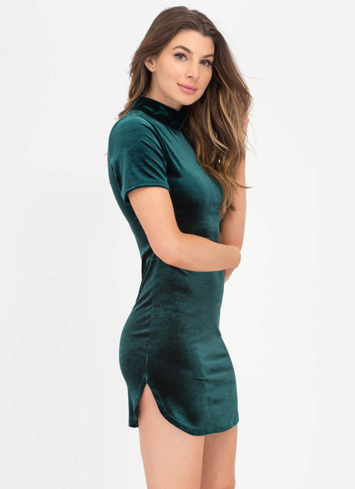 Round About Velvet Mockneck Dress HUNTERGREEN