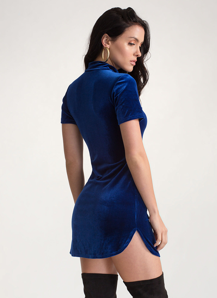 Round About Velvet Mockneck Dress ROYAL