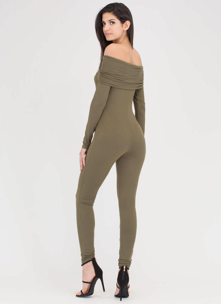 Chic Attack Off-Shoulder Full Bodysuit OLIVE