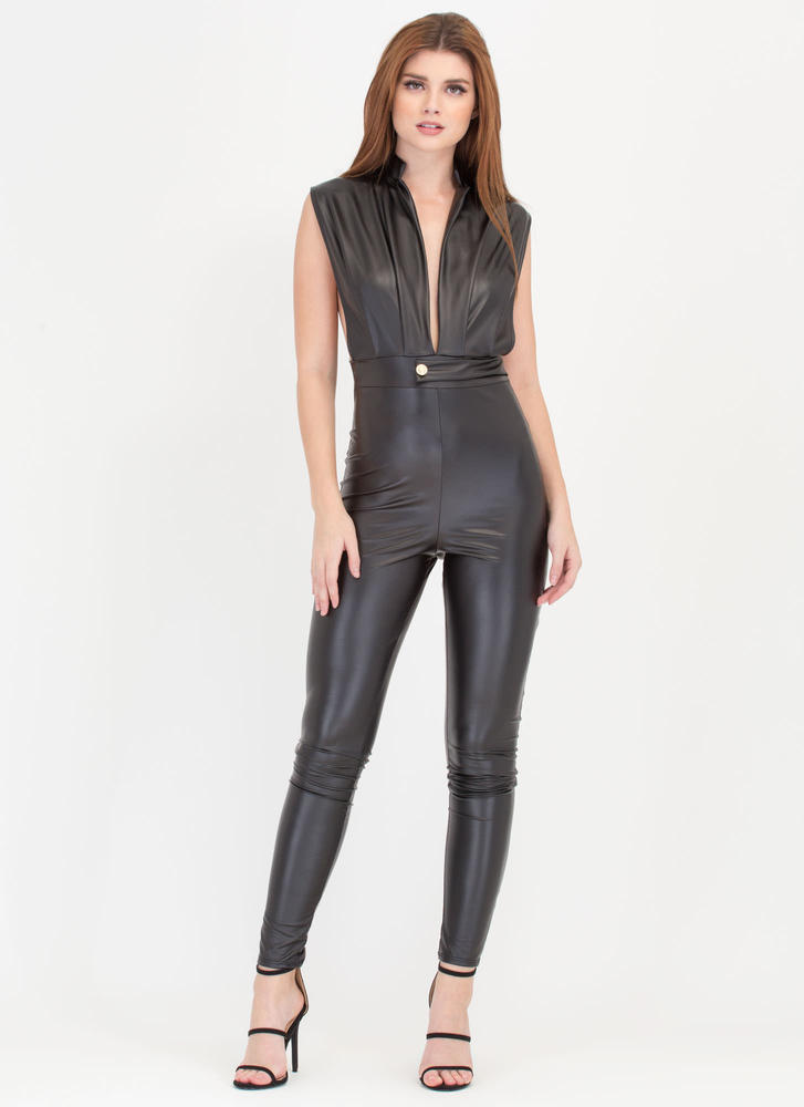 Smooth Sailing Plunging Jumpsuit BLACK
