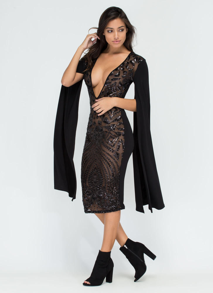 Sparkly Perfection Sheer Midi Dress BLACK