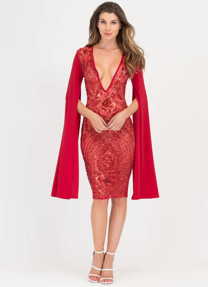 Sparkly Perfection Sheer Midi Dress RED