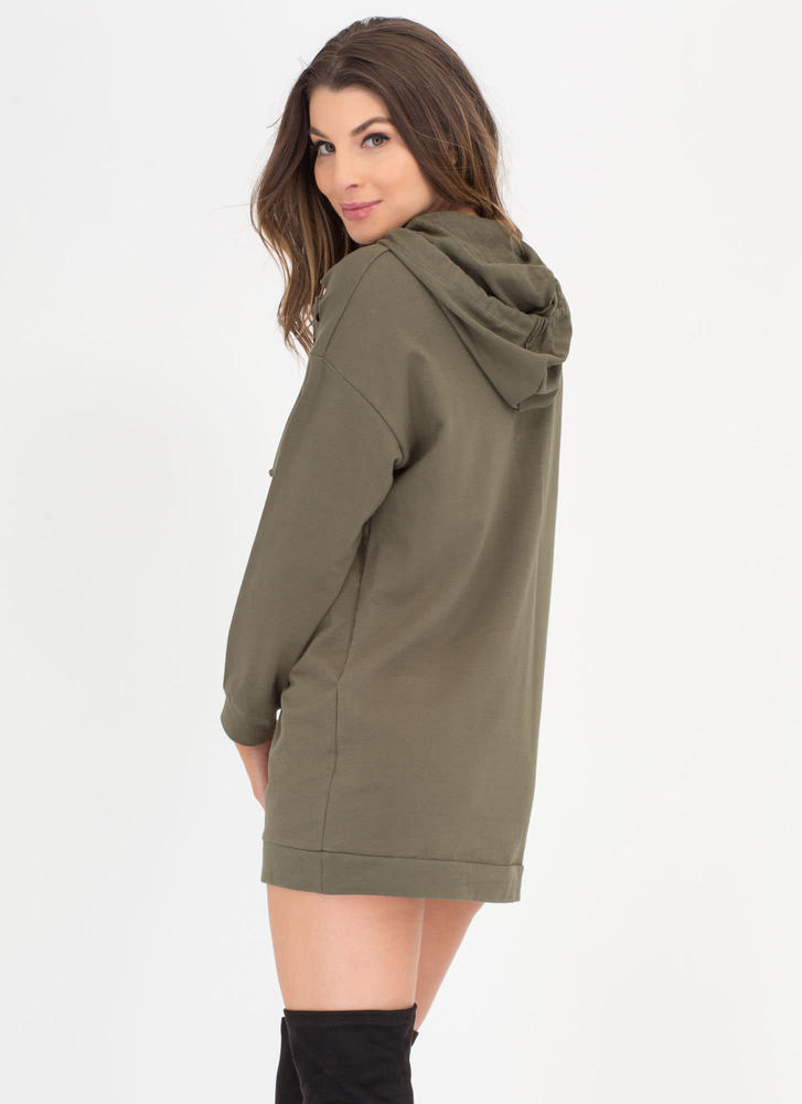 Hole Army Hooded Sweatshirt Dress OLIVE