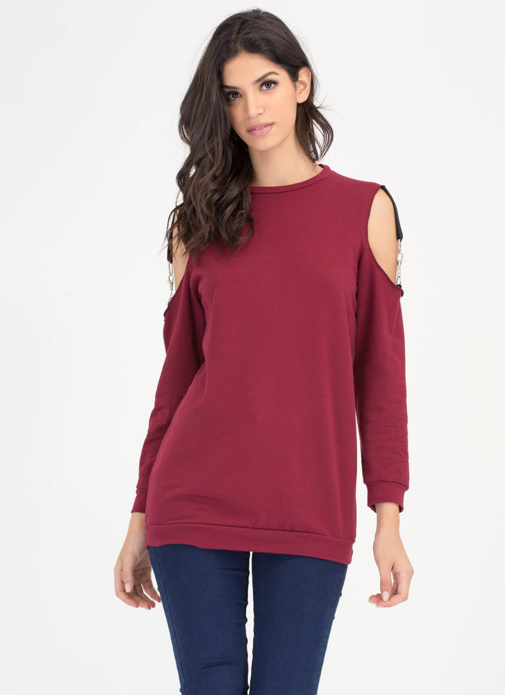 Hold Up Cold Shoulder Sweatshirt Dress BURGUNDY