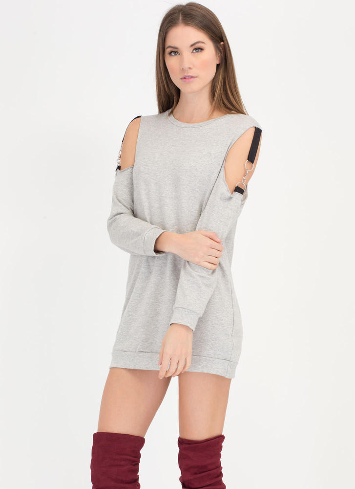 Hold Up Cold Shoulder Sweatshirt Dress HGREY