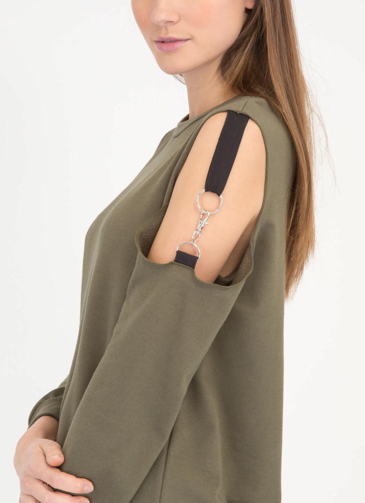 Hold Up Cold Shoulder Sweatshirt Dress OLIVE