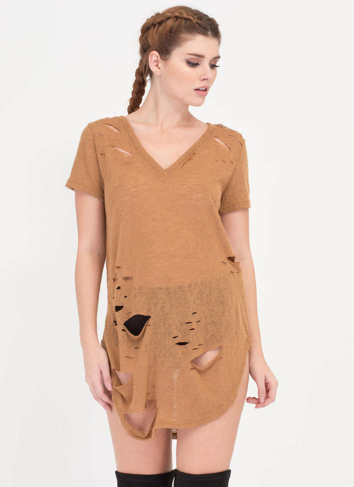 Cover Your Bases Distressed Tee Dress