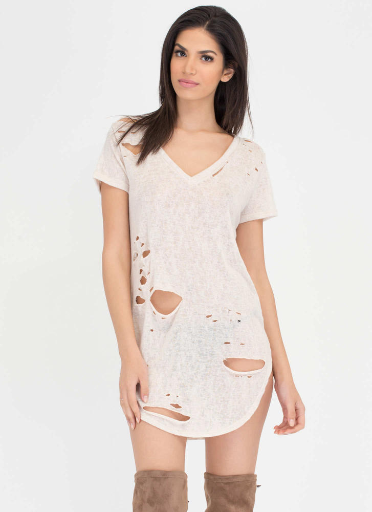 Cover Your Bases Distressed Tee Dress CREAM