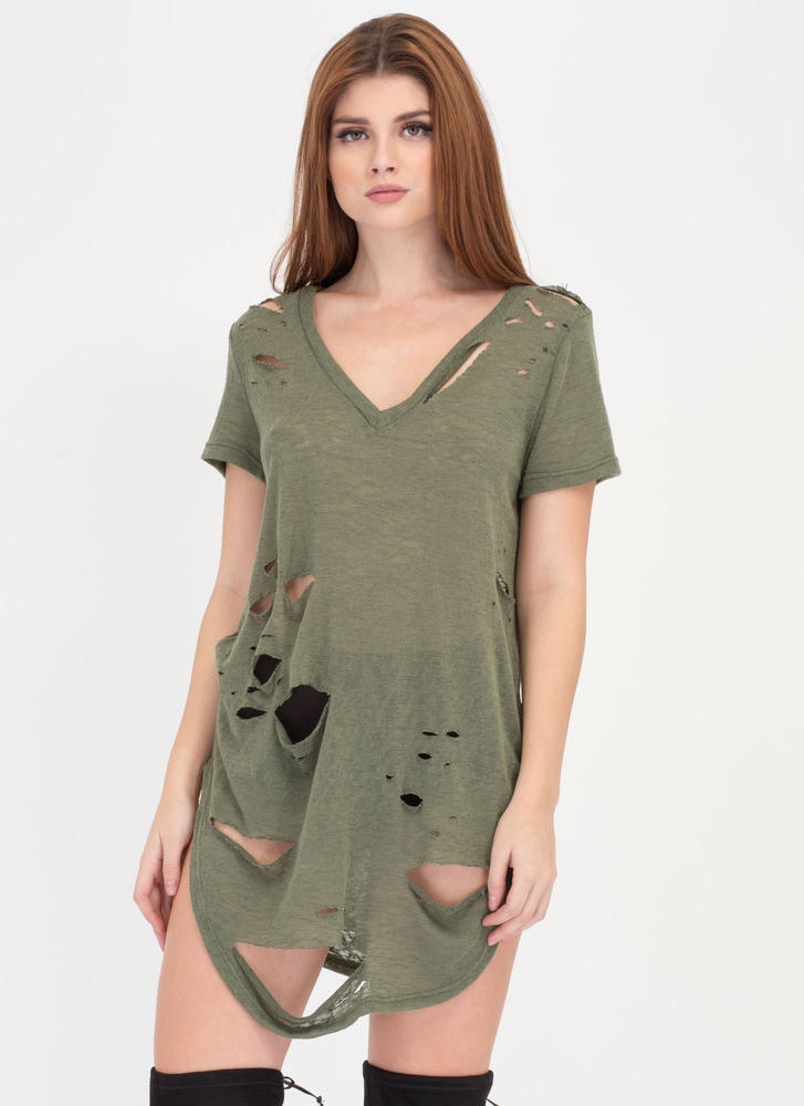 Cover Your Bases Distressed Tee Dress OLIVE