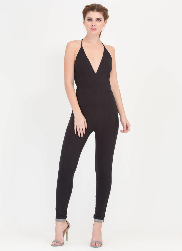 Cross Reference Plunging Jumpsuit BLACK