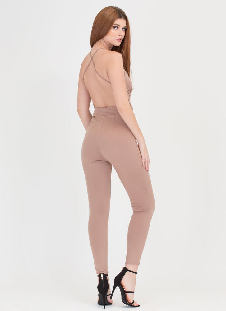 Cross Reference Plunging Jumpsuit KHAKI
