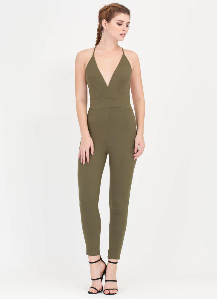 Cross Reference Plunging Jumpsuit OLIVE