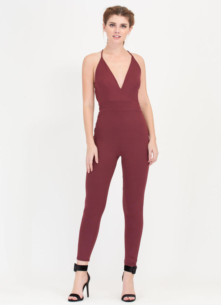 Cross Reference Plunging Jumpsuit WINE
