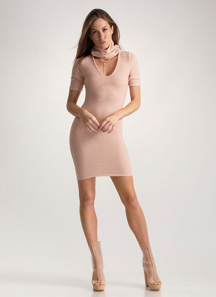 Fuzzy Feels Turtleneck Sweater Dress PEACH