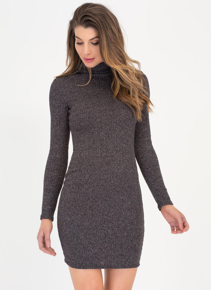 Knit Girl Marled Turtleneck Dress CHARCOAL