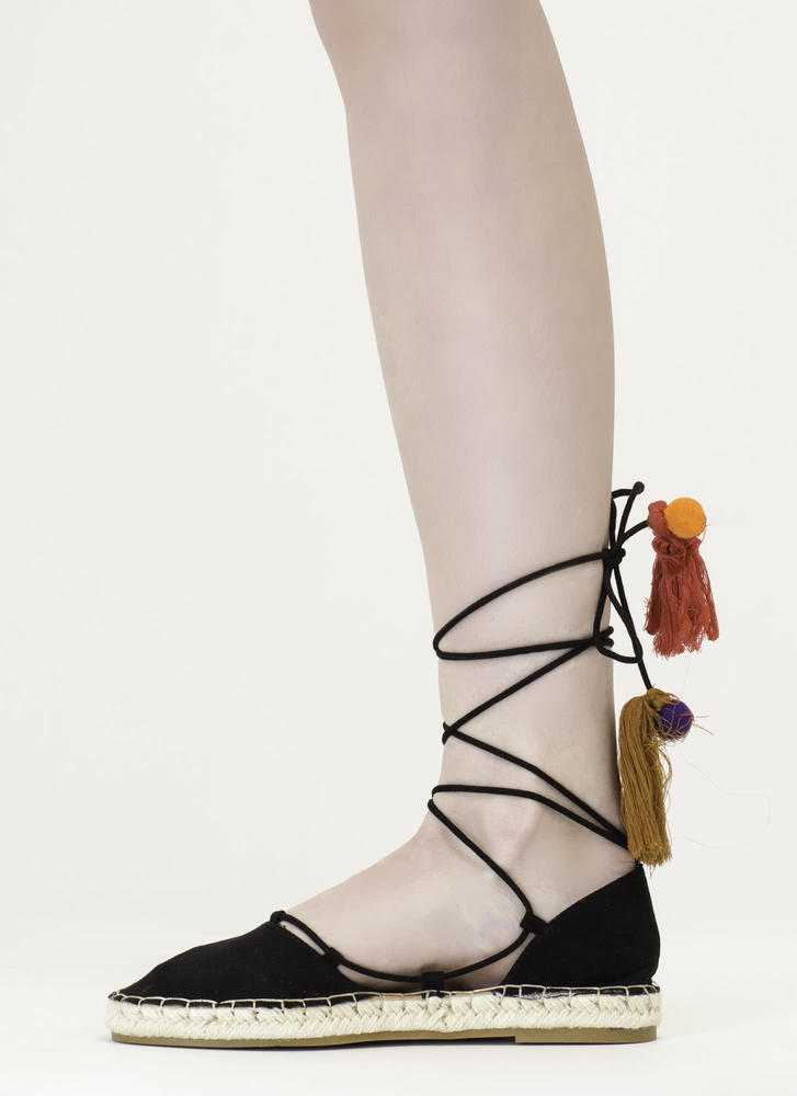 Chic Getaway Faux Suede Lace-Up Flats BLACK