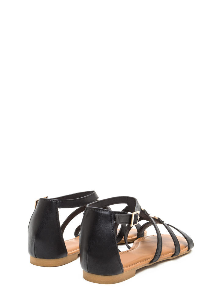 Medal Winner Caged Faux Leather Sandals BLACK