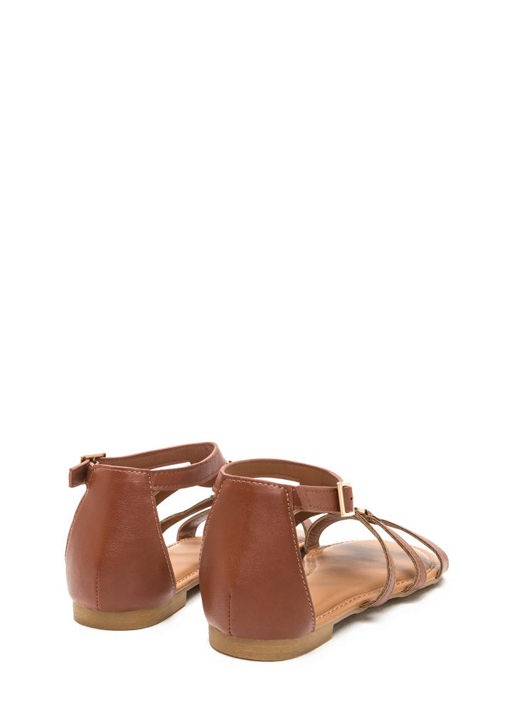 Medal Winner Caged Faux Leather Sandals CHESTNUT