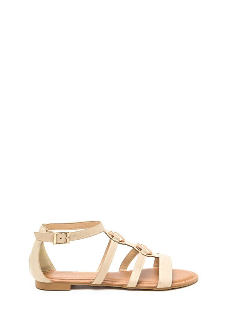Medal Winner Caged Faux Leather Sandals NUDE