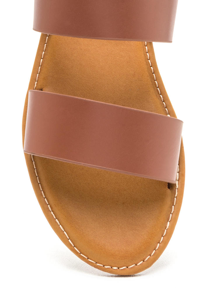 Two Cool Faux Leather Slide Sandals TAN