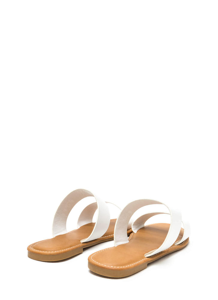 Two Cool Faux Leather Slide Sandals WHITE