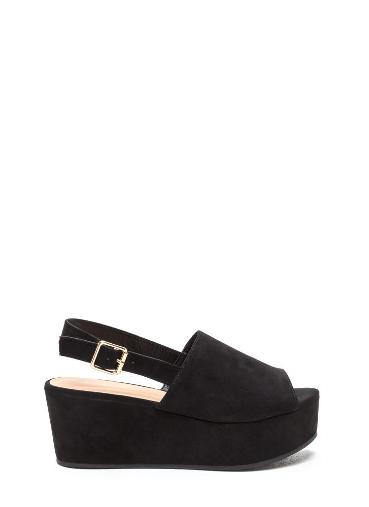 All Day Fave Slingback Faux Suede Wedges BLACK