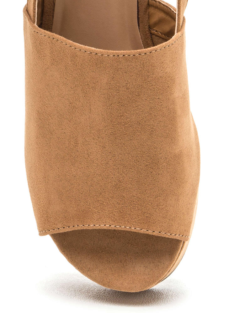 All Day Fave Slingback Faux Suede Wedges TAN
