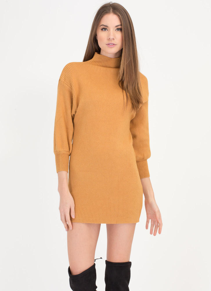Like A Dream Ribbed Sweater Dress MUSTARD