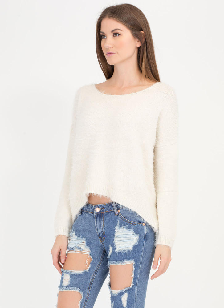 Soft Whisper Fuzzy Dolman Sweater IVORY