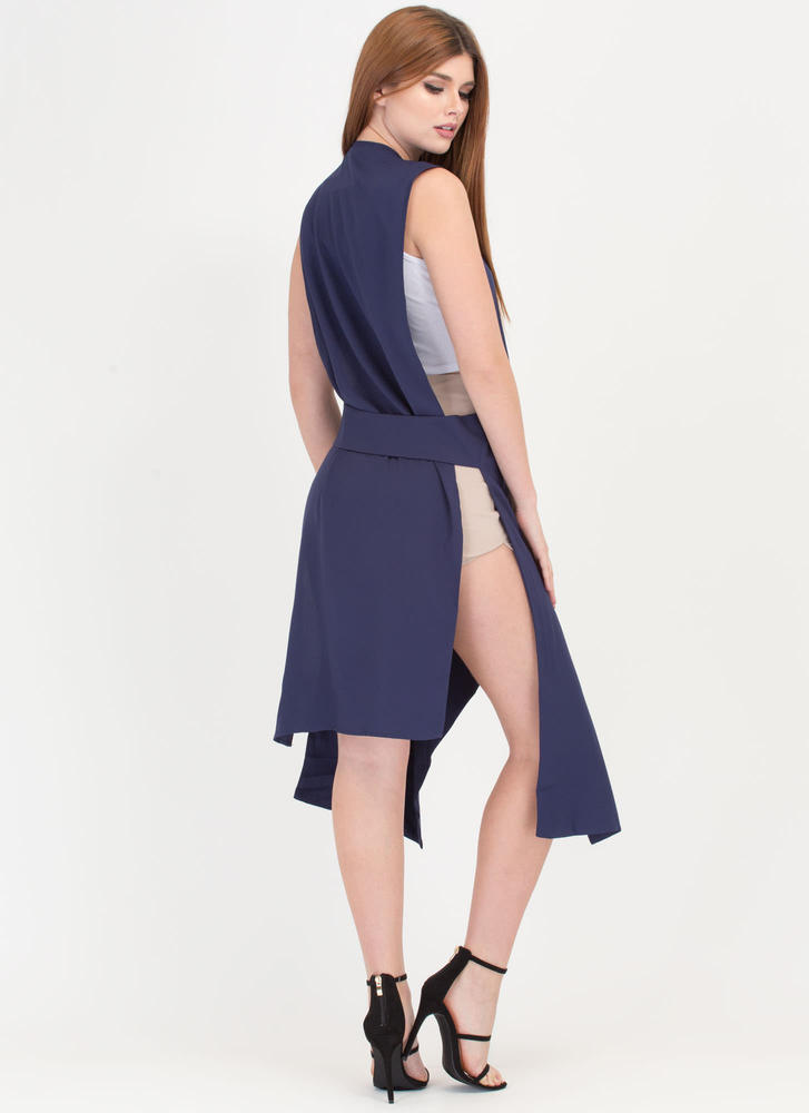 Open To Suggestions Slit Duster Vest NAVY
