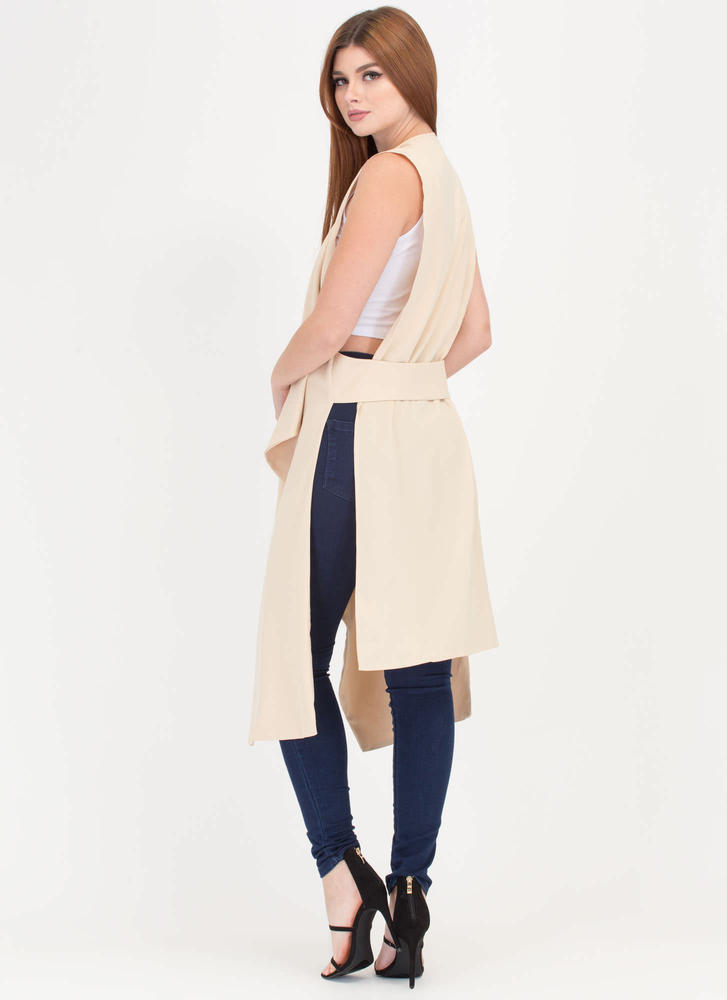 Open To Suggestions Slit Duster Vest TAN