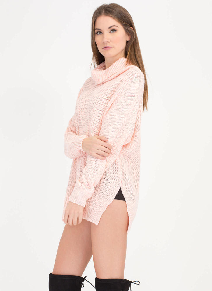 Comin' Up Cozy Chunky Turtleneck Sweater PINK