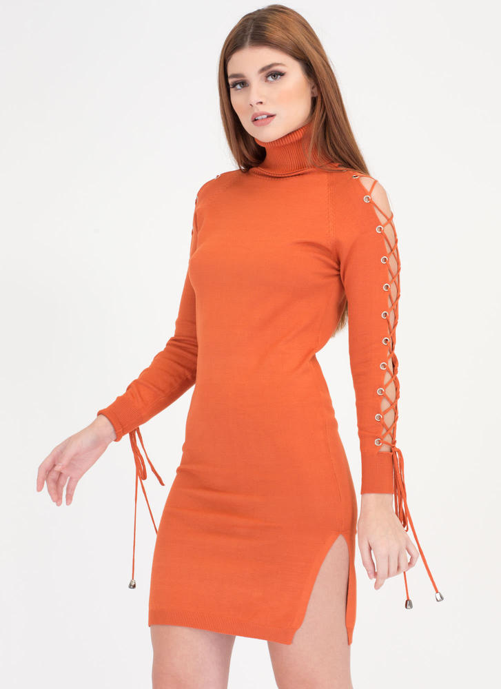 Laced It Knit Turtleneck Midi Dress ORANGE