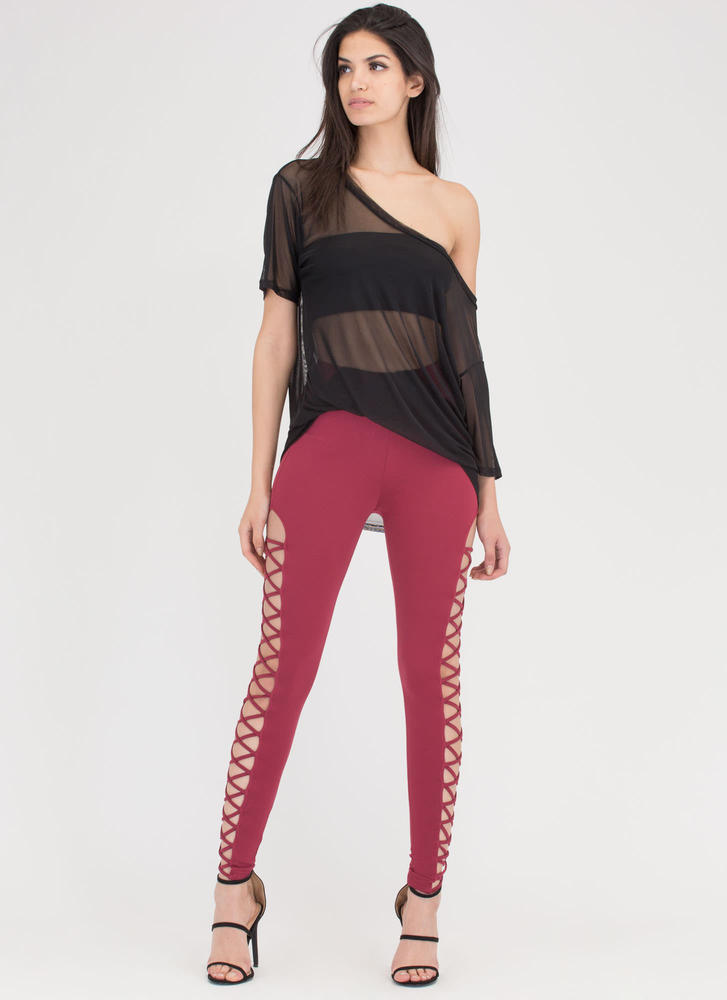 Crisscross Over Cut-Out Caged Pants BURGUNDY