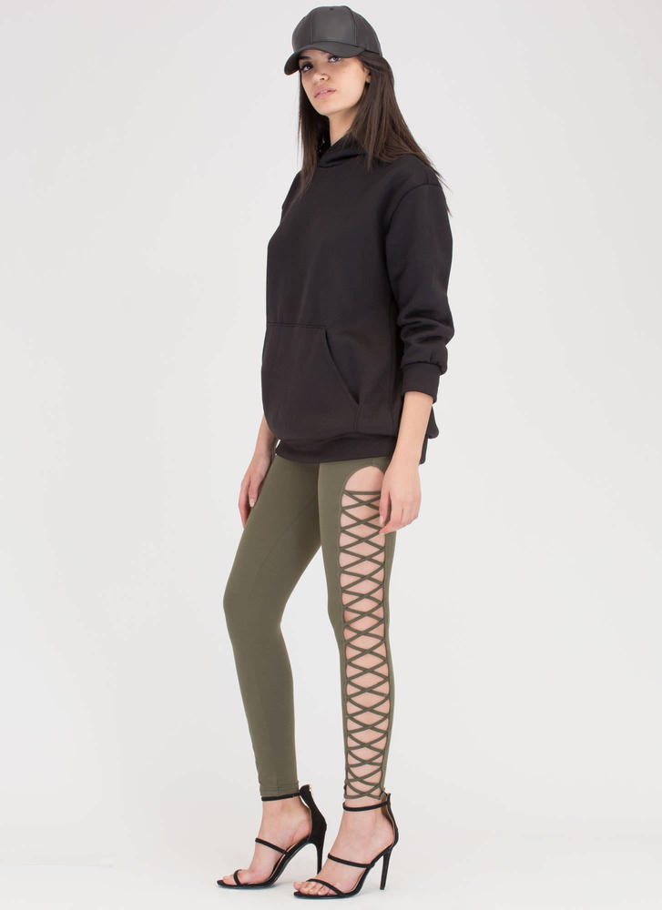 Crisscross Over Cut-Out Caged Pants OLIVE