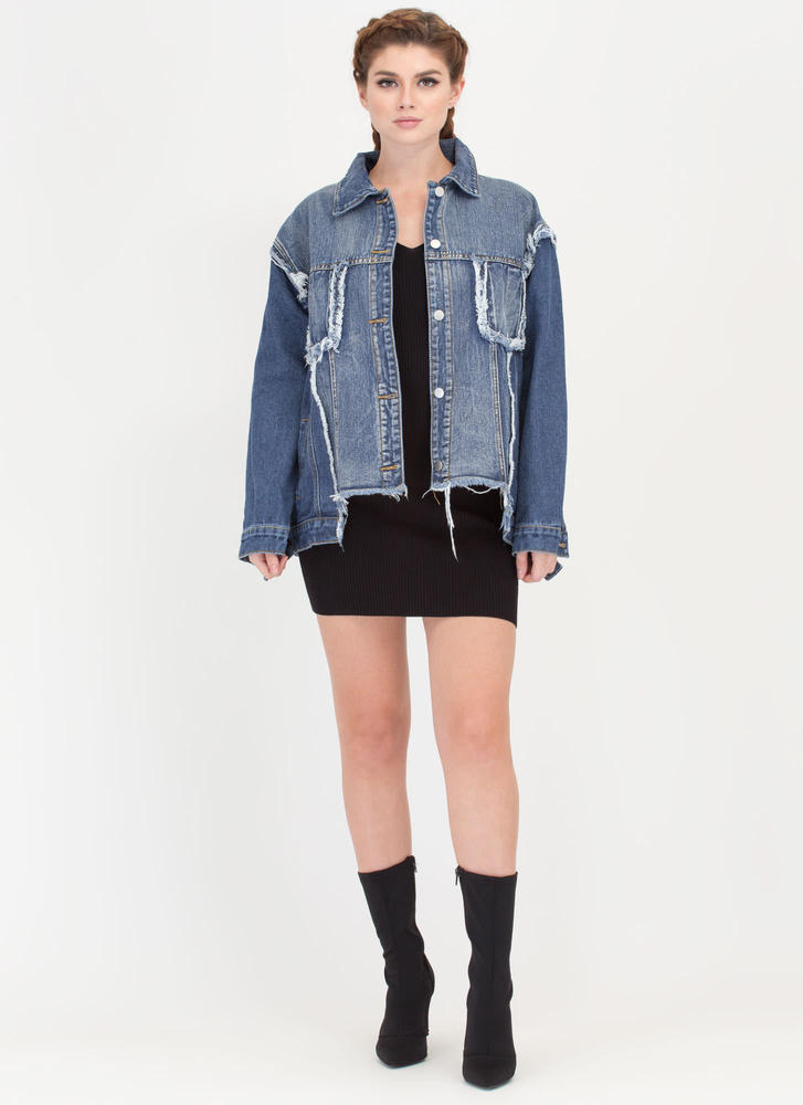 Reconstructed Distressed Denim Jacket BLUE