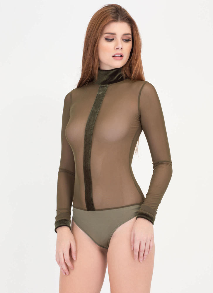 Strip Mesh And Velvet Thong Bodysuit
