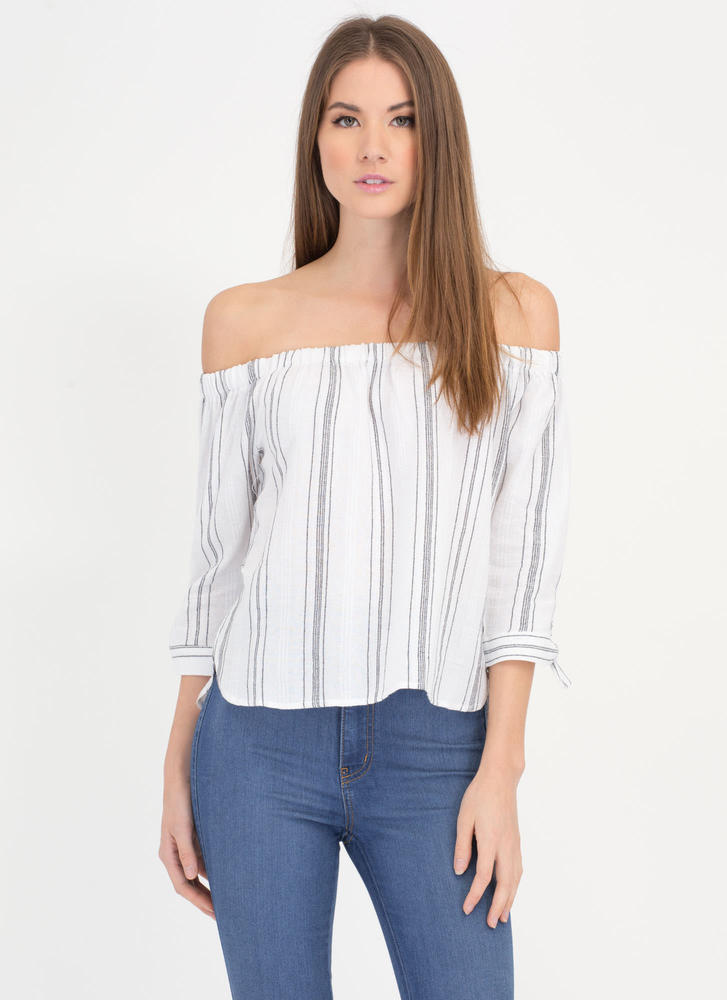 Lined Up Off-Shoulder Peasant Blouse