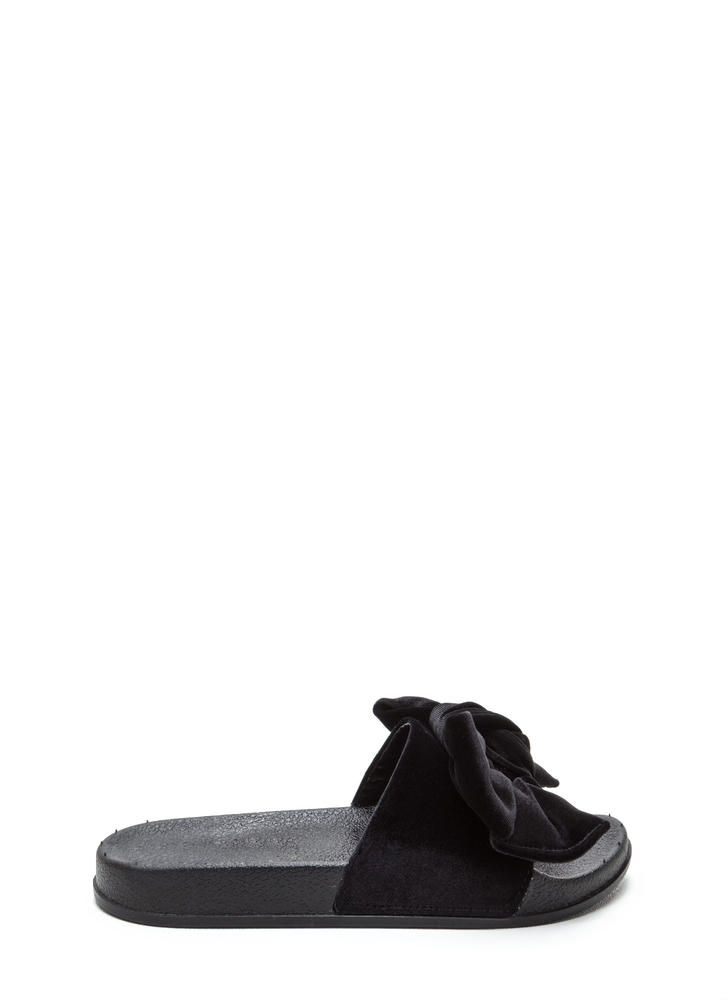 Bow My Goodness Velvet Slide Sandals BLACK