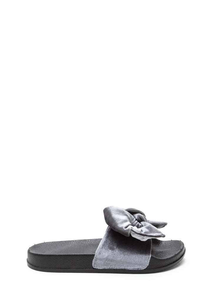 Bow My Goodness Velvet Slide Sandals GREY