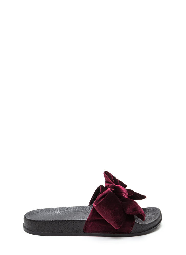 Bow My Goodness Velvet Slide Sandals WINE