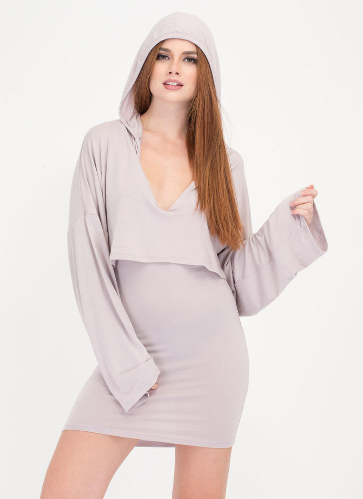 Two Good Hooded Draped Minidress LAVENDER
