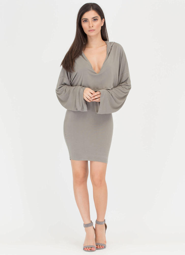 Two Good Hooded Draped Minidress OLIVE