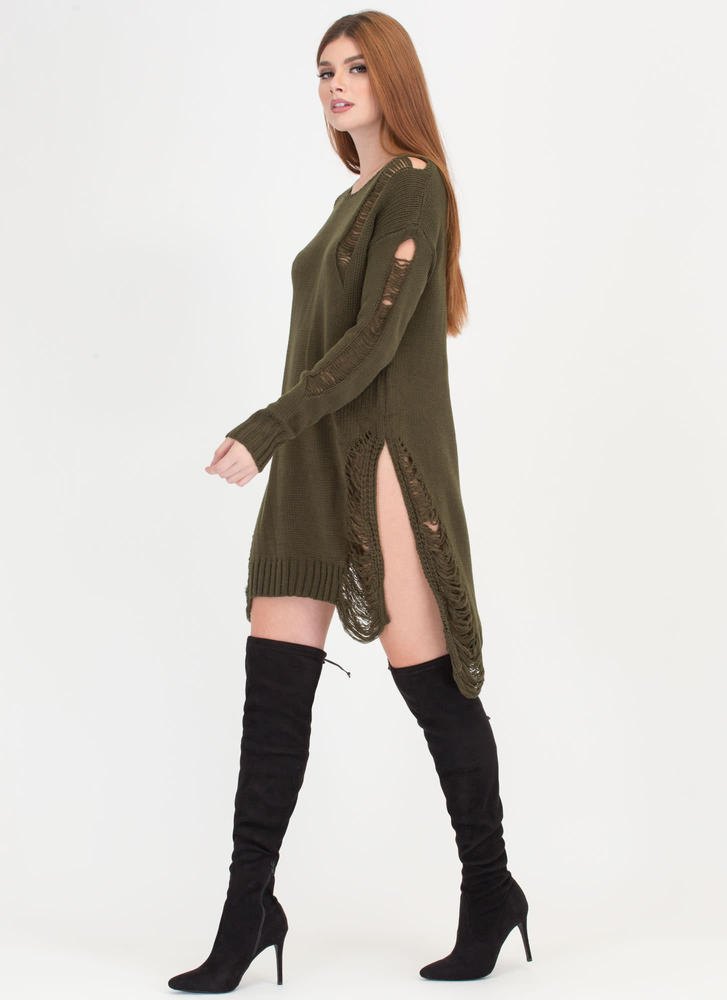 Best In Show Distressed Sweater Dress OLIVE