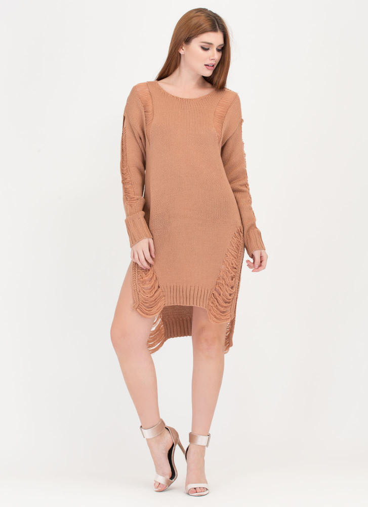 Best In Show Distressed Sweater Dress SPICE
