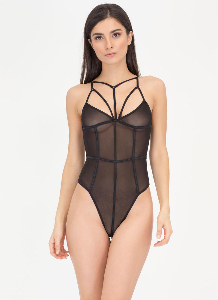 In The Cage Sheer Mesh Bodysuit BLACK