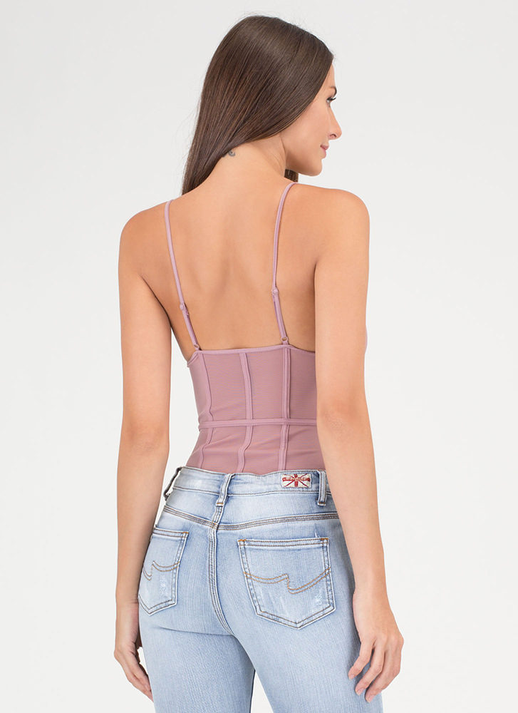In The Cage Sheer Mesh Bodysuit MAUVE